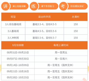 环球北京学院秋季雅思营班型课时费用及9月份排期