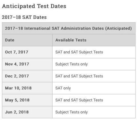 """""""2017SAT考试时间表"""""""