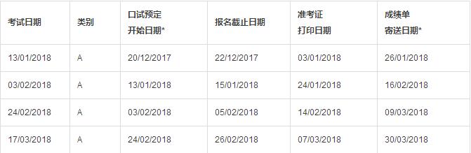 2018雅思考试时间出来了!
