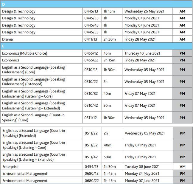 2021年IGCSE考试时间