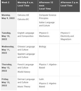 2022年AP各科考試時間表終于更新!學生可參加延遲考試!
